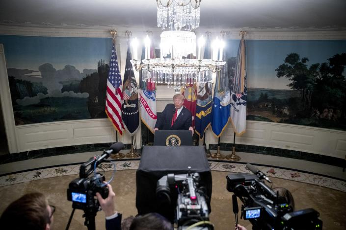 President Donald Trump speaks in the Diplomatic Room of the White House in Washington, Sunday, Oct. 27, 2019, to announce that Islamic State leader Abu Bakr al-Baghdadi has been killed during a US raid in Syria. (AP Photo/Andrew Harnik)