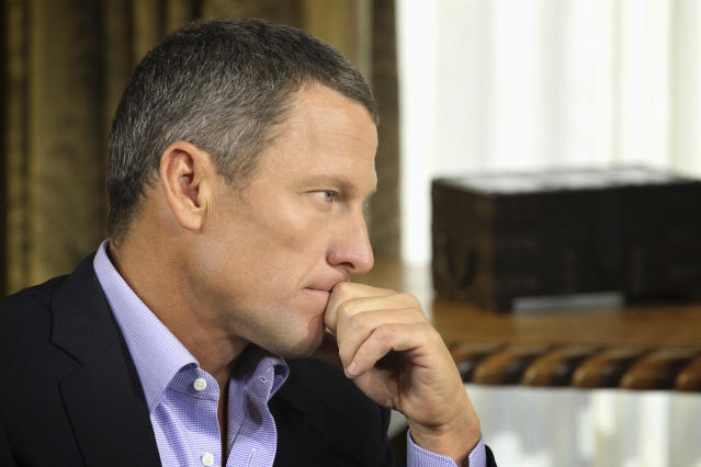"""FILE - In this Monday, Jan. 14, 2013, file photo provided by Harpo Studios Inc., Lance Armstrong listens as he is interviewed by talk show host Oprah Winfrey during taping for the show """"Oprah and Lance Armstrong: The Worldwide Exclusive"""" in Austin, Texas. Armstrong confessed to using performance-enhancing drugs to win the Tour de France cycling during the interview that aired Thursday, Jan. 17, reversing more than a decade of denial. (AP Photo/Courtesy of Harpo Studios, Inc., George Burns, File)"""
