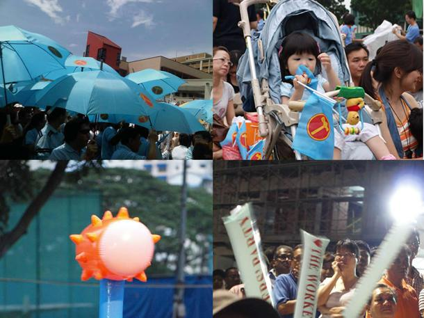 Pictures of various Workers' Party paraphernalia-- clockwise from top left: WP umbrellas, a toddler with WP flags, WP clappers and a fan's WP hammer. (Yahoo! photos / Aeron Chew)