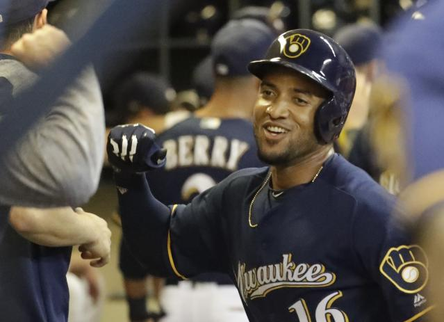 Domingo Santana gives the Brewers plenty of power in the outfield. (AP Photo)