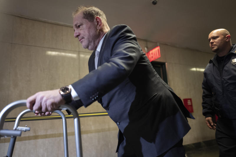 Harvey Weinstein leaves a Manhattan courtroom after attending jury selection in his rape trial, Monday, Jan. 13, 2020, in New York. (AP Photo/Mark Lennihan)