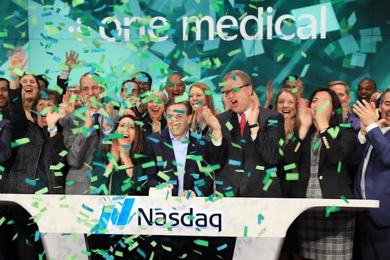 One Medical rings the Nasdaq opening bell on IPO day (January 31, 2020)