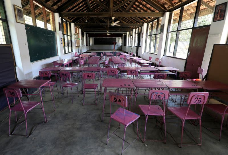FILE PHOTO: An empty classroom is seen after the government issued an order to close all Sri Lankan schools in Colombo