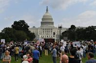 """Demonstrators gather for the """"Justice for J6"""" rally in Washington (AFP/Eric BARADAT)"""