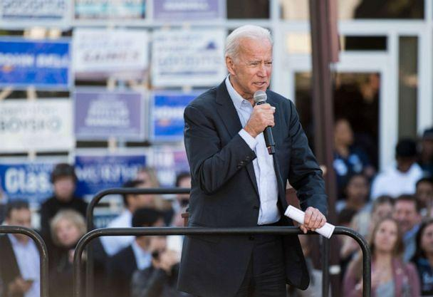 PHOTO: Former Vice President Joe Biden speaks during a kick off rally for Virginia Democrats' bid to take control of the state House and Senate in Sterling, Va., Nov. 3, 2019. (Bill Clark/CQ-Roll Call via Getty Images)