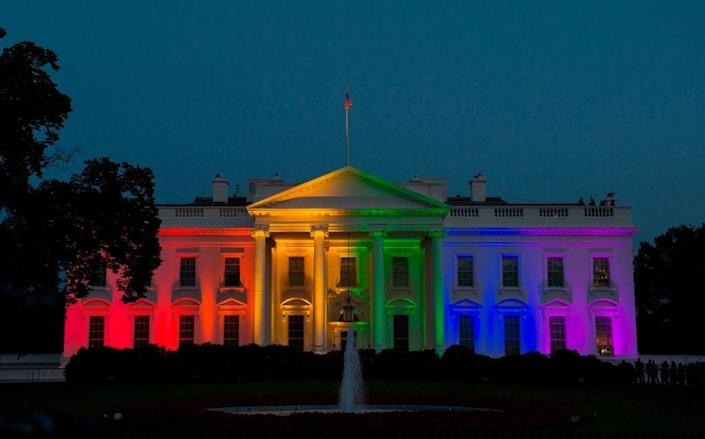 <p>White House was last lit up with rainbow colours in 2015</p> (AFP via Getty Images)