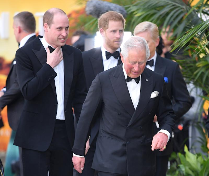 "Prince William, Duke of Cambridge, Prince Harry, Duke of Sussex and Prince Charles, Prince of Wales attend the ""Our Planet"" global premiere at Natural History Museum on April 04, 2019 in London, England."