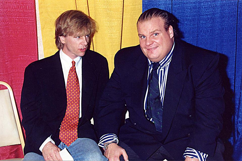 David Spade and Chris Farley during 1995 ShoWest in Las Vegas, Nevada, United States. (Photo by Jeff Kravitz/FilmMagic, Inc)