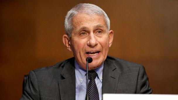 PHOTO: Dr. Anthony Fauci gives an opening statement during a Senate Health, Education, Labor and Pensions Committee hearing to discuss the on-going federal response to Covid-19, May 11, 2021, in Washington, DC. (Greg Nash/AFP via Getty Images)
