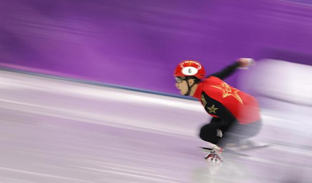 Short Track Speed Skating Events - Pyeongchang 2018 Winter Olympics - Men's 500m Final - Gangneung Ice Arena - Gangneung, South Korea - February 22, 2018 - Wu Dajing of China competes. REUTERS/Lucy Nicholson TPX IMAGES OF THE DAY