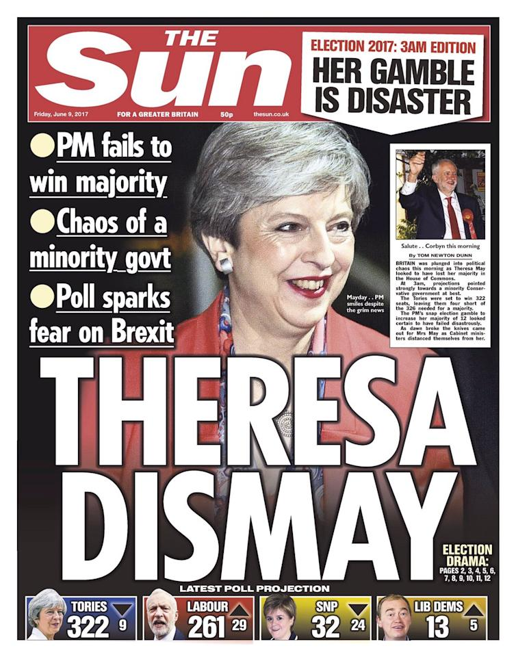 <p>The Tory-supporting tabloid went with a image of a grinning PM with the headline 'Theresa Dismay' </p>