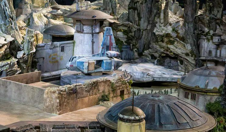 The Millennium Falcon appears at Star Wars Land - Credit: Disney