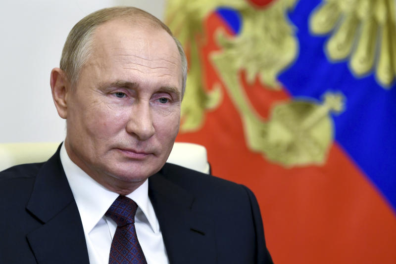 Russian President Vladimir Putin attends a meeting via video conference at the Novo-Ogaryovo residence outside Moscow, Russia, Thursday, Aug. 20, 2020. (Alexei Nikolsky, Sputnik, Kremlin Pool Photo via AP)