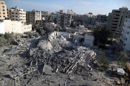 A view shows the remains of a building that was destroyed by Israeli air strikes, in Gaza City November 13, 2018. REUTERS/Suhaib Salem