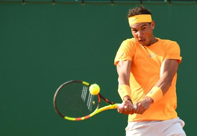 Rafael Nadal of Spain returns a ball to Aljaz Bedene of Slovenia during the Monte-Carlo ATP Masters Series Tournament in Monaco (AFP Photo/YANN COATSALIOU)