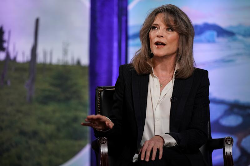"2020 Democratic presidential candidate Marianne Williamson participates in the ""Climate Forum 2020,"" at Georgetown University's Gaston Hall in Washington, U.S., September 19, 2019. REUTERS/Sarah Silbiger"