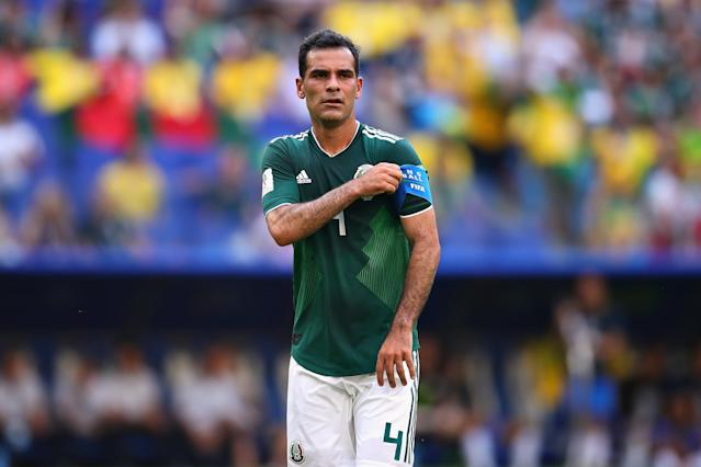 Rafael Marquez of Mexico looks on during the 2018 FIFA World Cup Russia Round of 16 match between Brazil and Mexico at Samara Arena on July 2, 2018 in Samara, Russia. (Getty Images)