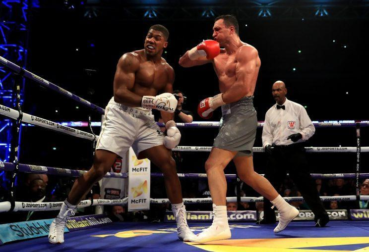 Wladimir Klitschko catches Anthony Joshua with a vicious right cross. (Getty Images)
