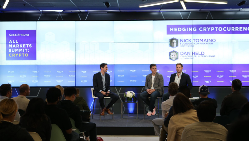 Nick Tomaino of 1confirmation (center) and Dan Held of Picks & Shovels (far right) speak at Yahoo Finance's All Markets Summit: Crypto in San Francisco on June 14, 2018. (Jeremy Waldorph/Oath)