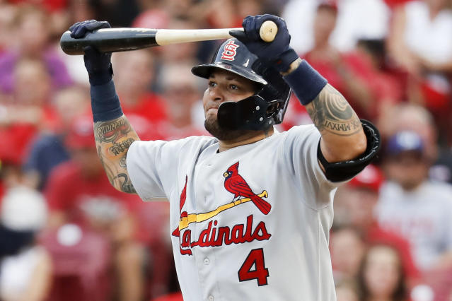 St. Louis Cardinals' Yadier Molina reacts after striking out to Cincinnati Reds starting pitcher Homer Bailey during the third inning of a baseball game Tuesday, July 24, 2018, in Cincinnati. (AP Photo/John Minchillo)