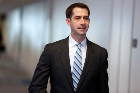 FILE PHOTO: Senator Tom Cotton (R-AR) arrives for a Senate Intelligence Committee hearing evaluating Russian interference in U.S. elections