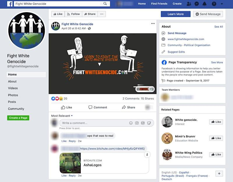 A screenshot of a white supremacist group's Facebook page from the study by the Tech Transparency Project. (Photo: Tech Transparency Project)