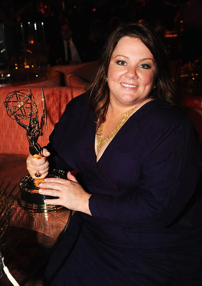 """""""Mike & Molly"""" star Melissa McCarthy -- who surprised everyone by winning Outstanding Lead Actress in a Comedy Series over """"The Big C's"""" Laura Linney -- clung to her statuette into the wee hours of the morning. Jeff Kravitz/<a href=""""http://www.filmmagic.com/"""" target=""""new"""">FilmMagic.com</a> - September 18, 2011"""