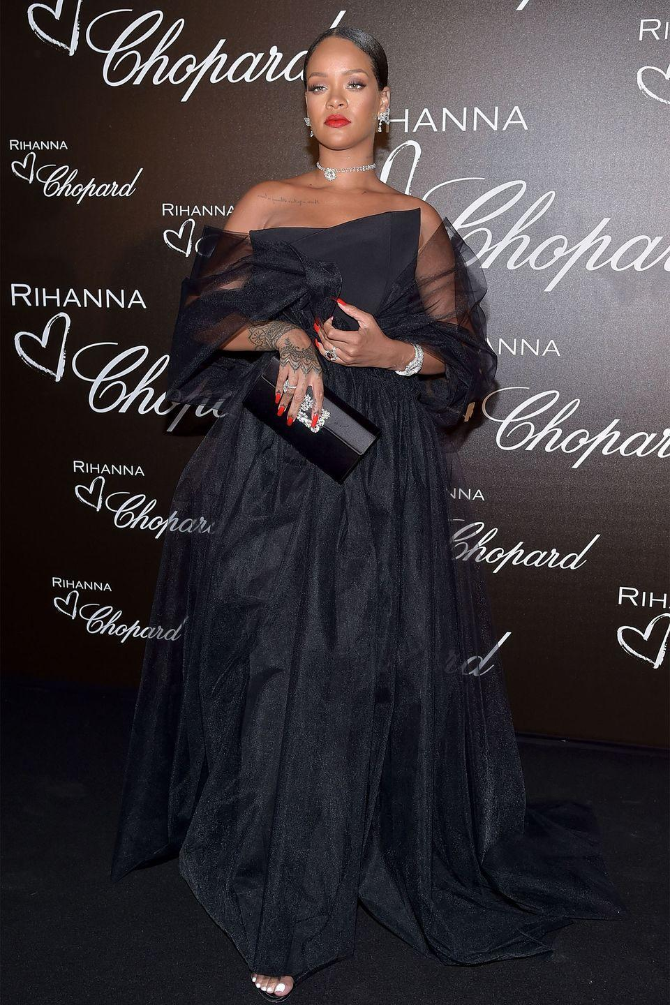 <p>In a black gown and Chopard jewels at the Rihanna X Chopard dinner in Cannes.</p>