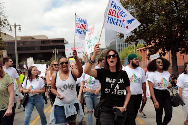 "<p>Demonstrators protest during a national day of action called ""Keep Families Together"" to protest the Trump administration's ""Zero Tolerance"" policy in Los Angeles, Calif., June 30, 2018. (Photo: Monica Almeida/Reuters) </p>"