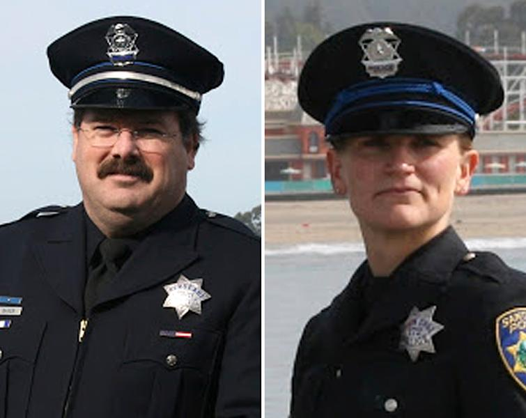 "This combo made from undated photos provided by the Santa Cruz Police Department shows Santa Cruz police Sgt. Loran ""Butch"" Baker, left, and officer Elizabeth Butler. Baker and Butler were killed while responding to a sexual assault report Tuesday afternoon, Feb. 27, 2013 at the doorstep of a suspect who was chased down and killed half an hour later. (AP Photo/Santa Cruz Police Department)"