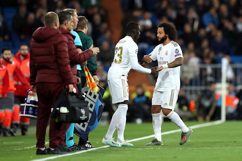 MADRID, SPAIN - NOVEMBER 06: Marcelo is substituted by Ferland Mendy of Real Madrid during the UEFA Champions League group A match between Real Madrid and Galatasaray at Bernabeu on November 06, 2019 in Madrid, Spain. (Photo by Angel Martinez/Getty Images)