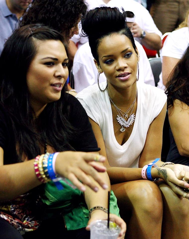 """Rihanna was also at a Lakers/Magic game this week -- the same one attended by ex-boyfriend Chris Brown. The uncomfortable coincidence happened just days after the """"Disturbia"""" singer was subpoenaed to appear at a hearing in Brown's assault case. Elsa/<a href=""""http://www.gettyimages.com/"""" target=""""new"""">GettyImages.com</a> - June 11, 2009"""