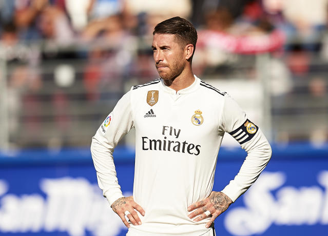 """<a class=""""link rapid-noclick-resp"""" href=""""/soccer/teams/real-madrid/"""" data-ylk=""""slk:Real Madrid"""">Real Madrid</a>'s Sergio Ramos reportedly tested positive for a banned substance after the 2017 Champions League final. (Getty)"""