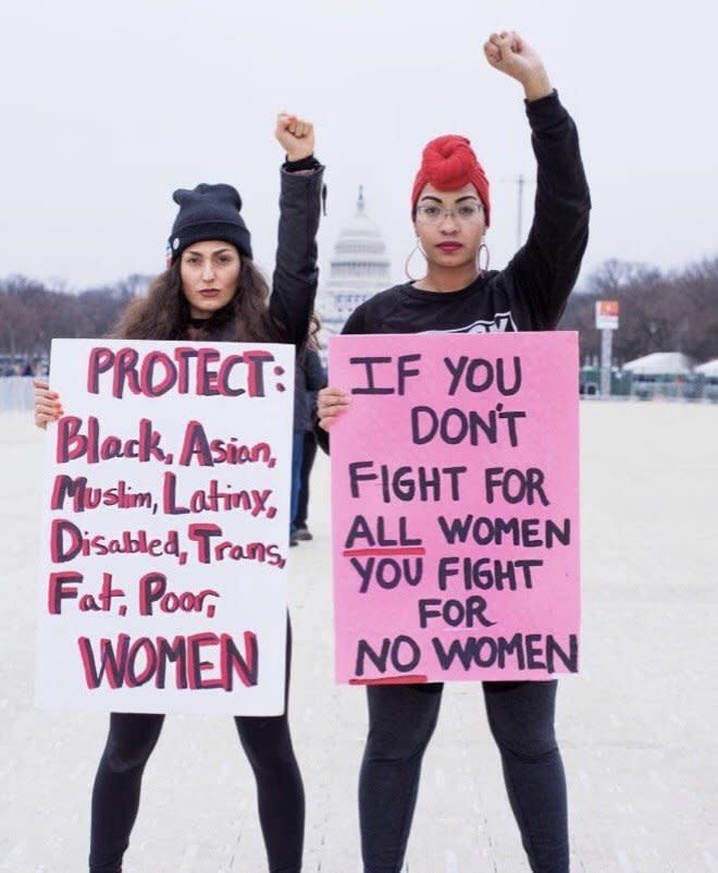 Rachel Cargle (right) with her friend Dana at the Women's March last year in Washington, D.C. (Jennifer Griffith of Griffith Imaging)