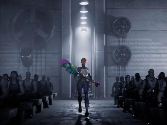 A 'Fortnite' character wields a hammer in Epic Games' anti-Apple '1984' parody (Epic Games)