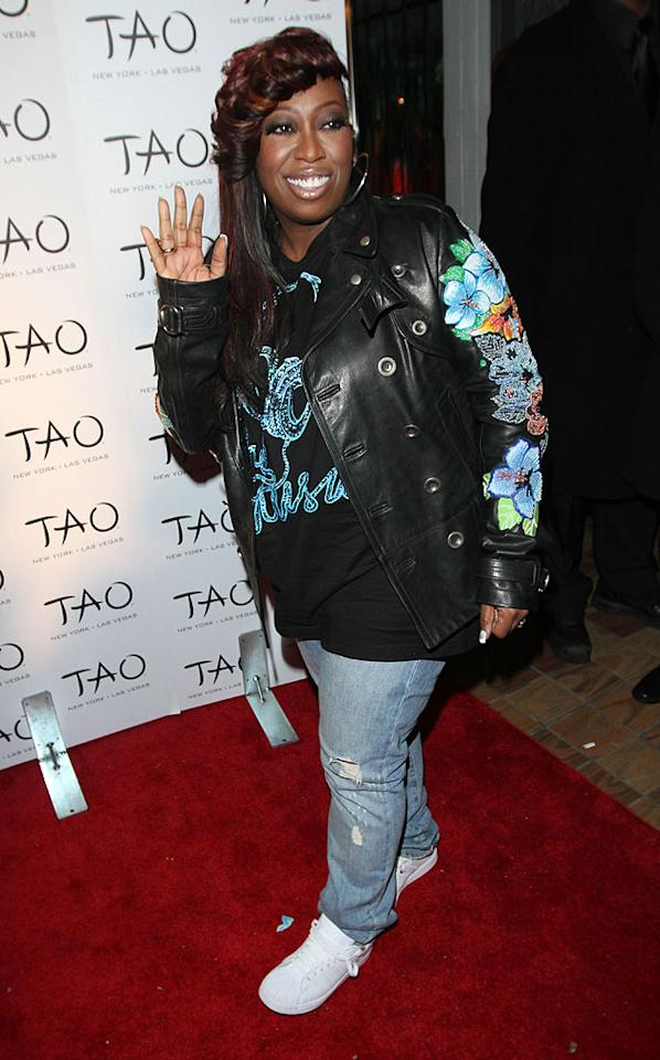"Missy Elliot made the scene in ripped jeans, a funky, lopsided hairdo, and a floral-embroidered leather jacket. Do you think her look was hot ... or not? Richie Buxo/<a href=""http://www.splashnewsonline.com"" target=""new"">Splash News</a> - October 16, 2010"