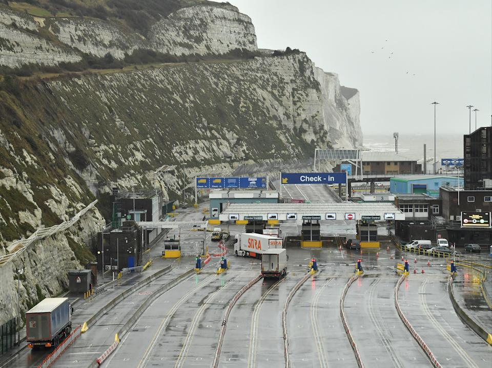 Lorries prepare to embark on a ferry at the Port of Dover (Glyn Kirk/AFP via Getty Images)