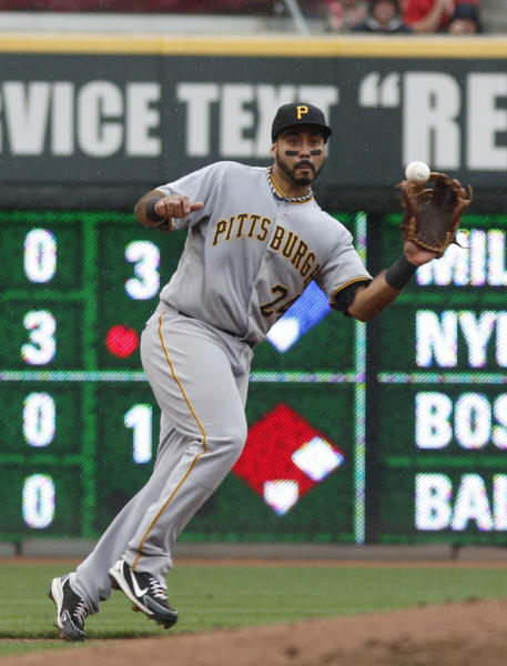 Pittsburgh Pirates third baseman Pedro Alvarez fields a line drive from Cincinnati Reds' Joey Votto during the fourth inning of a baseball game, Sunday, Sept. 29, 2013, in Cincinnati. (AP Photo/David Kohl)