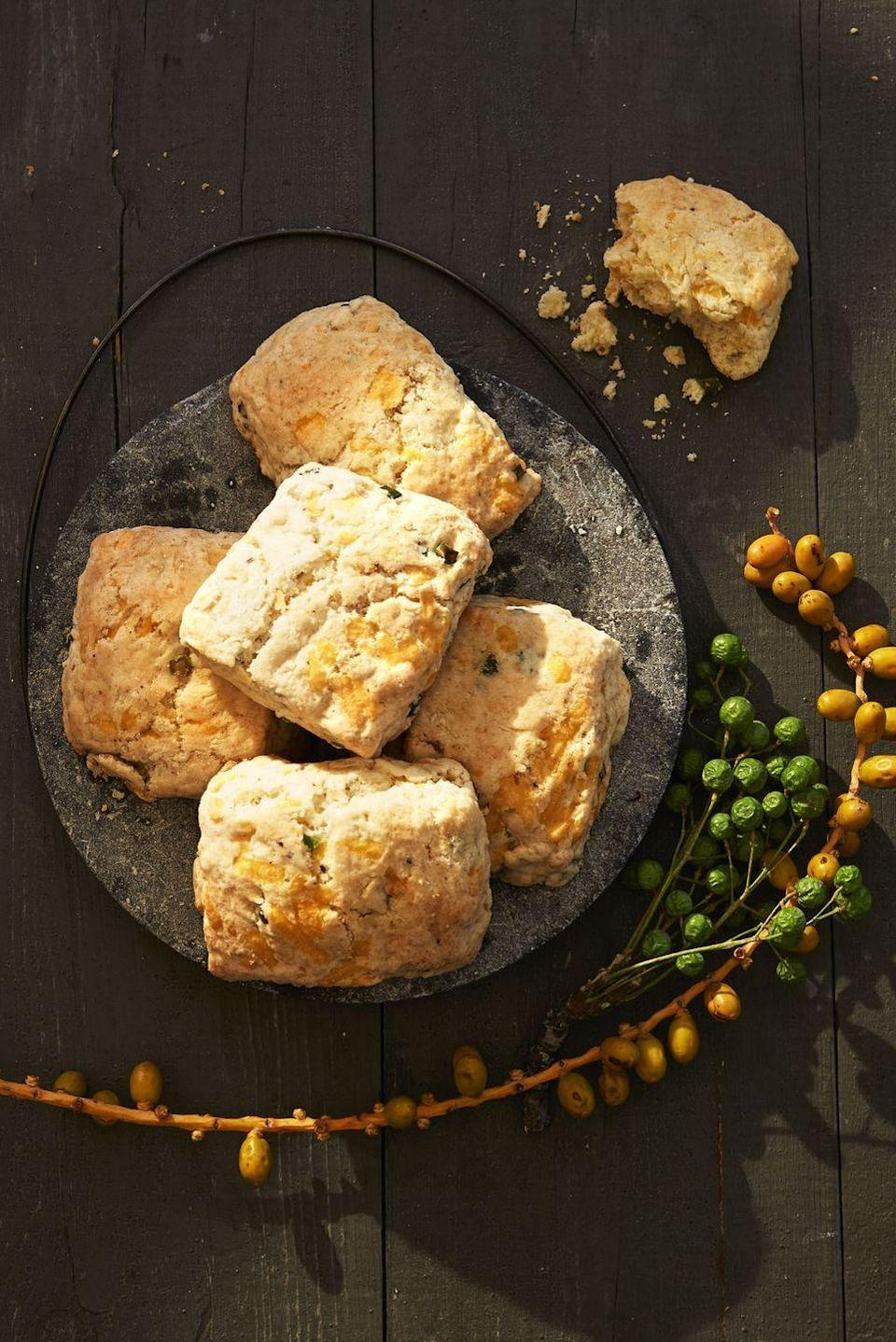 """<p>If you're craving some carbs on New Year's Day, then there's nothing better than these melt-in-your mouth apple and cheddar biscuits. </p><p><em><a href=""""https://www.goodhousekeeping.com/food-recipes/a41104/fluffy-apple-cheddar-biscuits-recipe/"""" rel=""""nofollow noopener"""" target=""""_blank"""" data-ylk=""""slk:Get the recipe for Apple Cheddar Biscuits »"""" class=""""link rapid-noclick-resp"""">Get the recipe for Apple Cheddar Biscuits »</a></em></p>"""