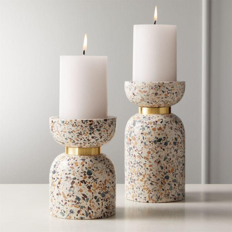 "<p>These <a href=""https://www.cb2.com/terrazzo-pillar-candle-holders/f21589"" class=""link rapid-noclick-resp"" rel=""nofollow noopener"" target=""_blank"" data-ylk=""slk:Terrazzo Pillar Candle Holders"">Terrazzo Pillar Candle Holders</a> from CB2 ($35) added a touch of the terrazzo trend to the space without committing to an expensive piece. </p>"