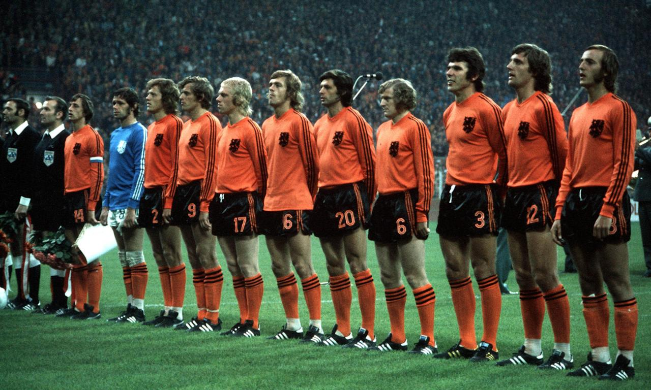 Holland's Total Footballers line up before their opening match of the 1974 World Cup against Sweden.