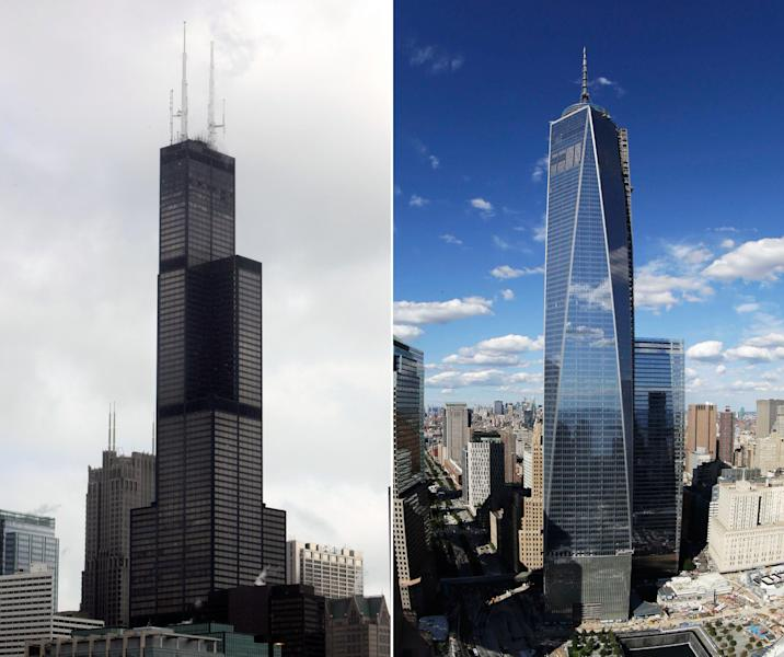 FILE - This combination made from file photos shows Willis Tower, formerly known as the Sears Tower, in Chicago on March 12, 2008, left, and 1 World Trade Center in New York on Sept. 5, 2013. The new World Trade Center tower in New York knocked Chicago's Willis Tower off its pedestal as the nation's tallest building when an international panel of architects announced Tuesday, Nov. 12, 2013, that the needle atop the skyscraper can be counted when measuring the structure's height. (AP Photos/File)
