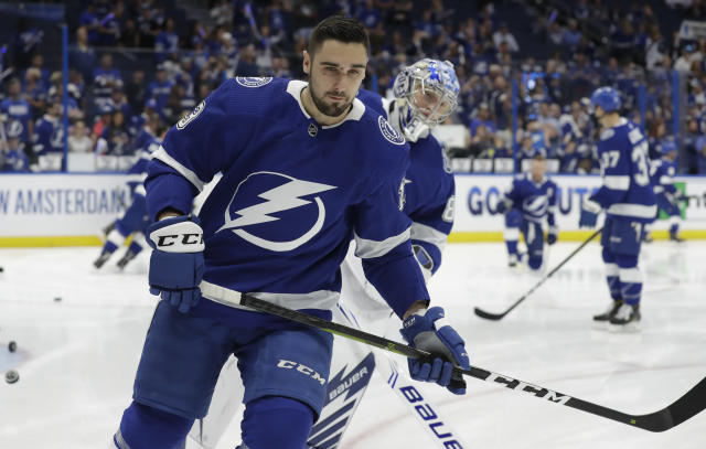 Tampa Bay Lightning center Cedric Paquette (13) before Game 2 of an NHL Eastern Conference first-round hockey playoff series against the Columbus Blue Jackets Friday, April 12, 2019, in Tampa, Fla. (AP Photo/Chris O'Meara)