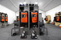 <p>A general view of the Philadelphia Flyers locker room is seen prior to the 2021 NHL Outdoors Sunday presented by Honda between the Philadelphia Flyers and the Boston Bruins on the 18th fairway of the Edgewood Tahoe Resort, at the south shore of Lake Tahoe on February 21, 2021 in Stateline, Nevada. (Photo by Brian Babineau/NHLI via Getty Images)</p>