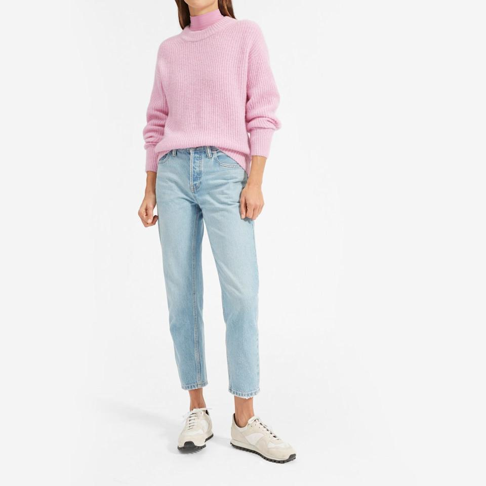 """$95, Everlane. <a href=""""https://www.everlane.com/products/womens-alpaca-crew-coolpink?collection=womens-sweaters"""">Get it now!</a>"""