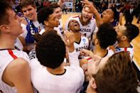 <p>Gonzaga celebrates after their win over Northwestern during the 2017 NCAA Men's Basketball Tournament held at Vivint Smart Home Arena on March 18, 2017 in Salt Lake City, Utah. (Photo by Jack Dempsey/NCAA Photos via Getty Images) </p>