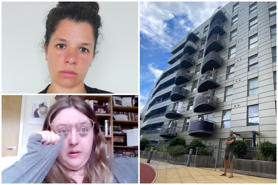 Victims of the cladding scandal, clockwise from top left: Yasmin Hill, Alex Fisher and Stephanie.