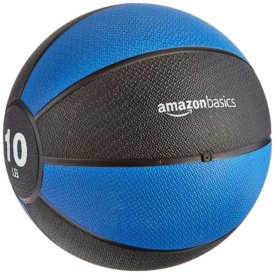 <p>This <span>AmazonBasics Medicine Ball</span> ($35) is a simple way to bring weights into your at-home training.</p>