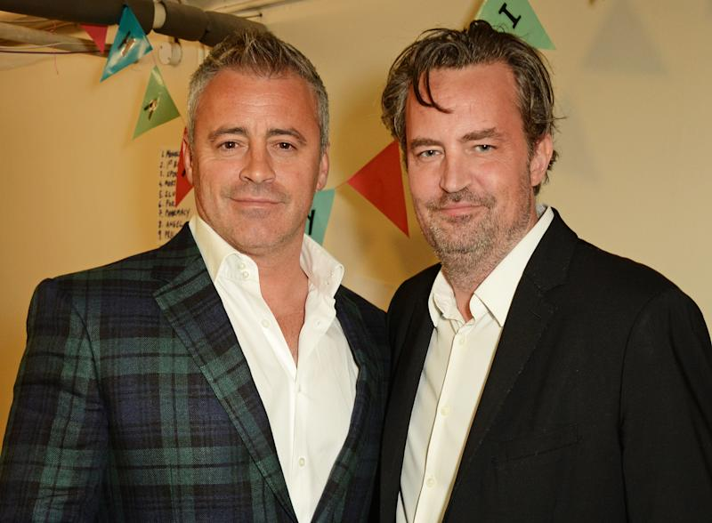 "LONDON, ENGLAND - APRIL 30: Matt LeBlanc (L) and Matthew Perry pose backstage following a performance of ""The End Of Longing"", Matthew Perry's playwriting debut which he stars in at The Playhouse Theatre on April 30, 2016 in London, England. (Photo by David M. Benett/Dave Benett/Getty Images)"
