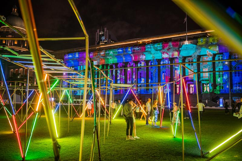 Optical Maze by OTTOTT at Light to Night Festival 2020: Invisible Cities in Singapore. (PHOTO: National Gallery Singapore)
